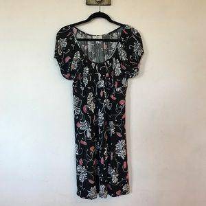 Anne Taylor Loft Black floral cotton dress